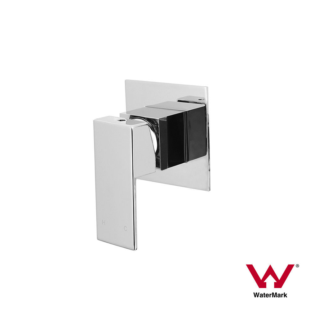 ETTORE | Small Square Chrome Wall Shower Bath Mixer | 80mm Ultra ...