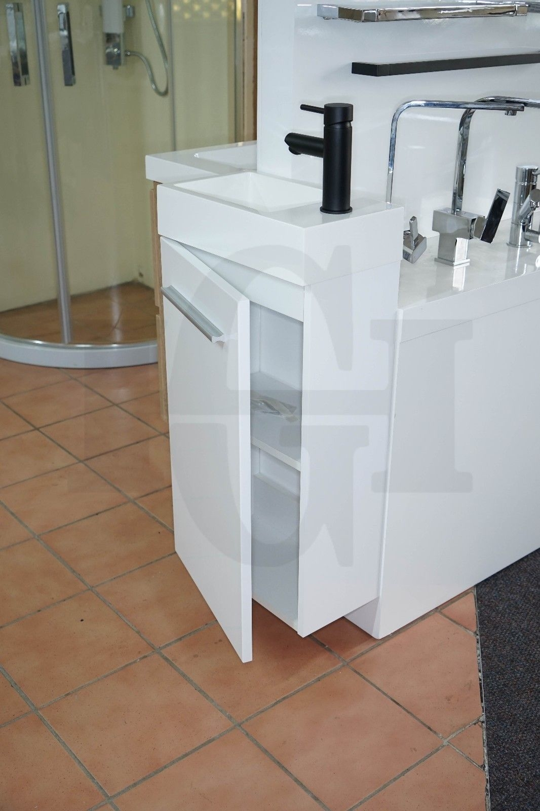 MINI | Compact 400mm White Gloss Polyurethane Small & Narrow Vanity ...