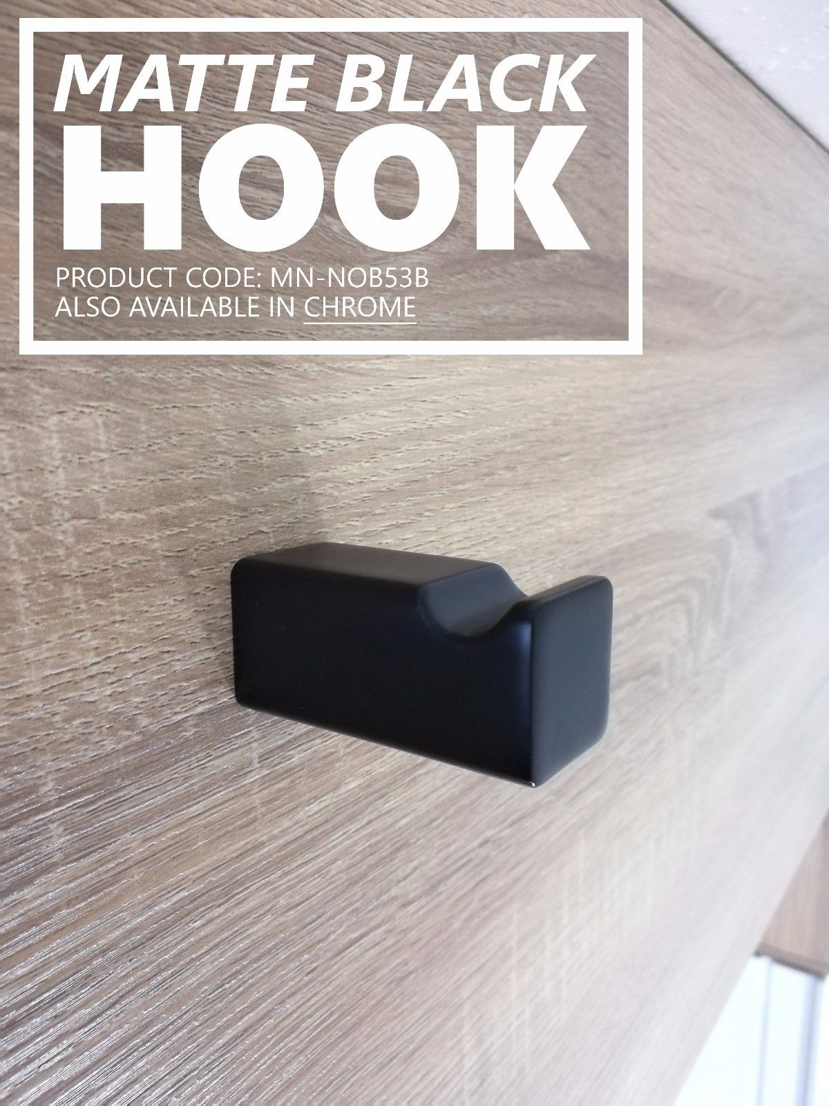 Noble Square Matte Black Bathroom Robe Towel Hook Homegear Australia