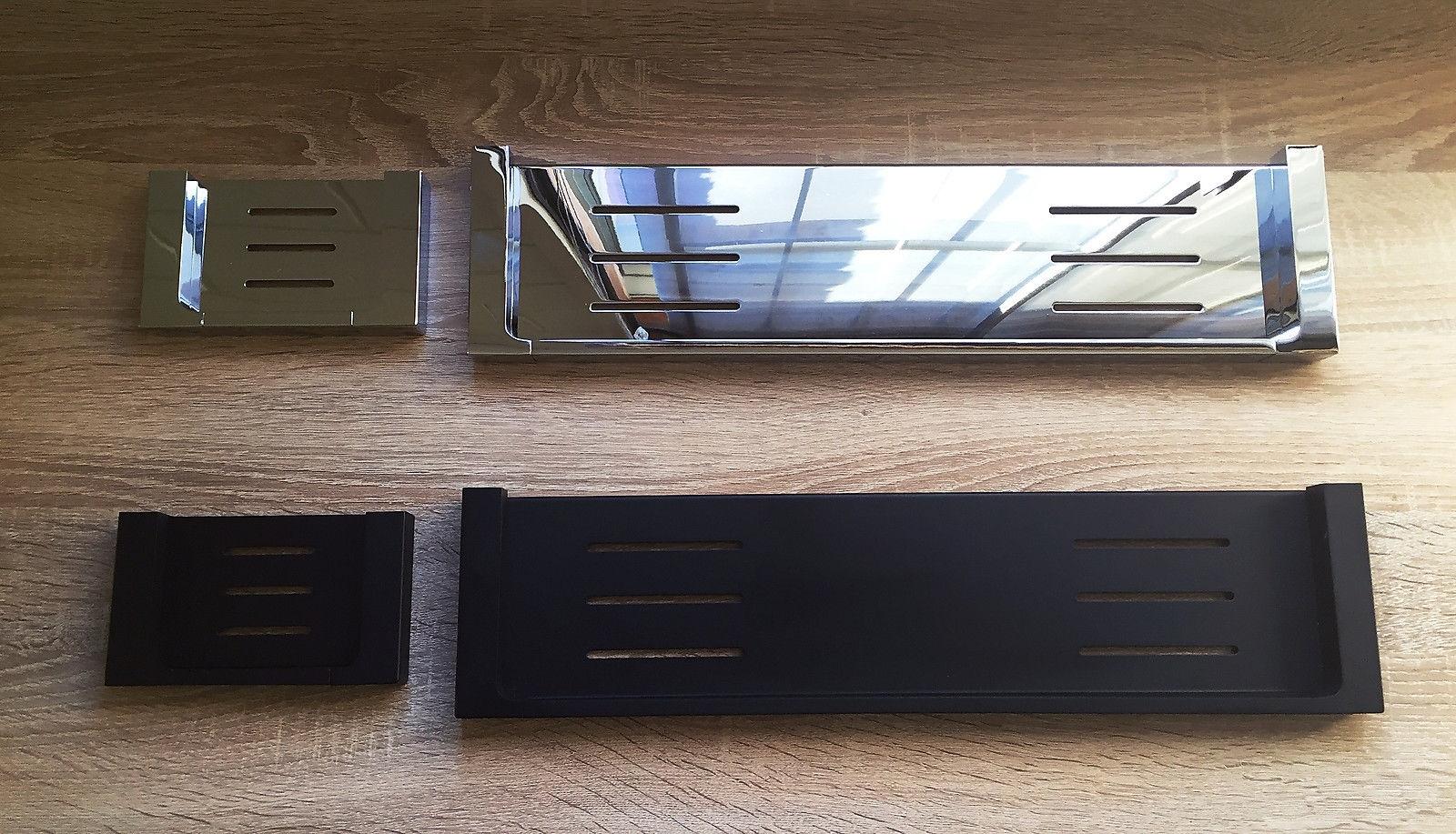 Ettore square polished chrome bathroom shower shelf - Black and chrome bathroom accessories ...