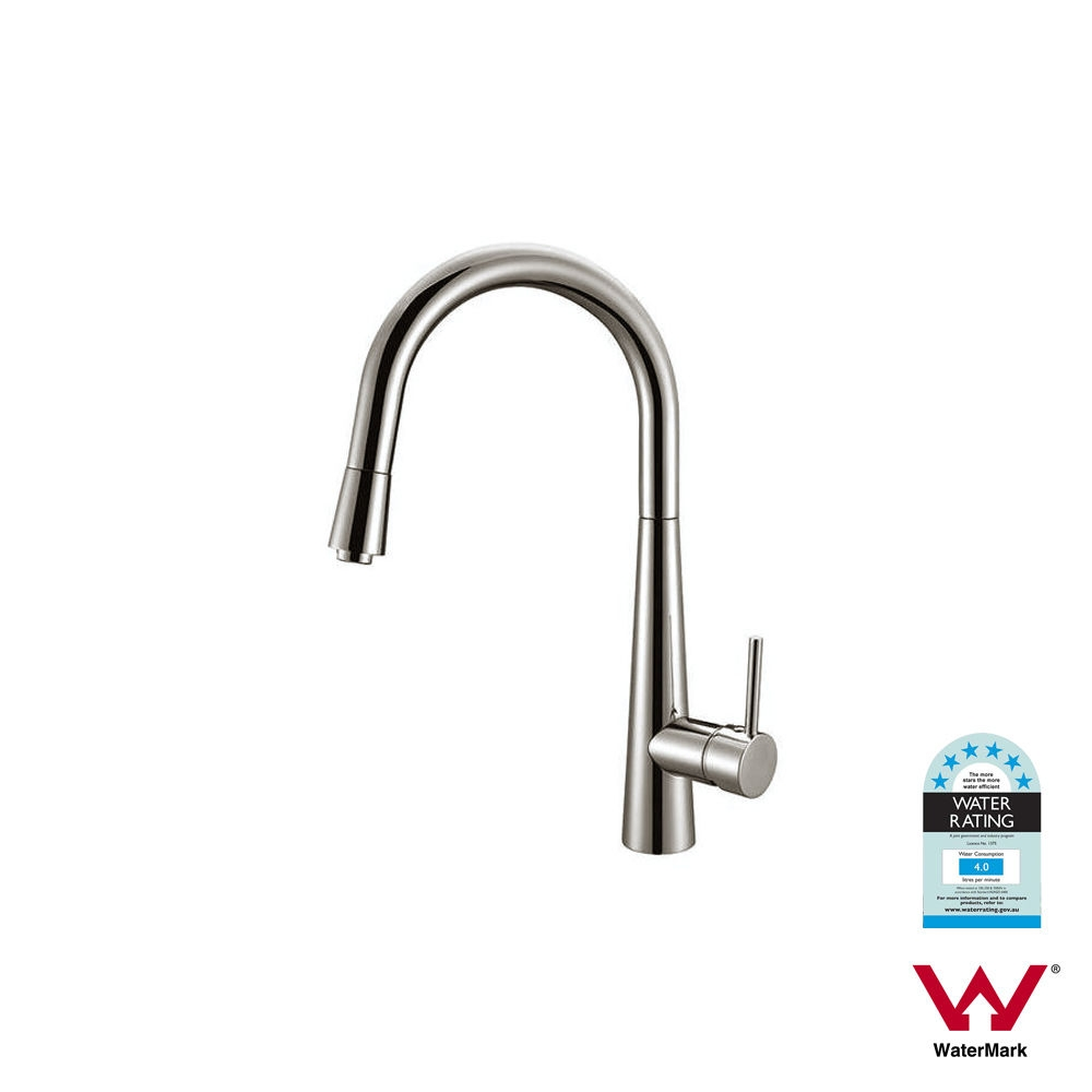 Round Brushed Nickel Pull Out Pin Lever Kitchen Mixer | Homegear ...
